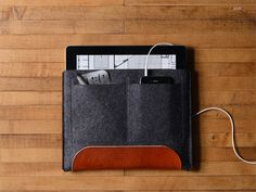 iPad & iPad Air Carryall  Charcoal Felt and Brown by byrdandbelle, $88.00