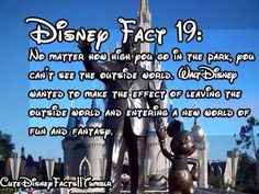 Cool Disney Fact No matter how high you go in the park, you can't see the outside world. Walt Disney wanted to make the effect of leaving the outside world and entering a new world of fun and fantasy Disney Fun Facts, Disney Memes, Disney Quotes, Cute Disney, Disney Dream, Disney Magic, Creepy Disney, Funny Disney, Disneyland Secrets