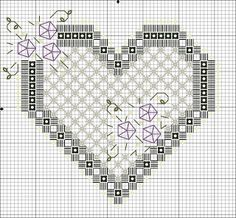 Flores no Jardim - Lee Albrecht: Free Hardanger pattern Embroidery Hearts, Hardanger Embroidery, Types Of Embroidery, Embroidery Patterns Free, Hand Embroidery Stitches, Embroidery Techniques, Cross Stitch Embroidery, Cross Stitch Patterns, Embroidery Designs