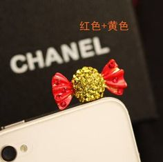 Red How cute Rhinestone candy type mobile phone dustproof plug for $6 Only! Shop Now! for order queries inbox us at https://www.facebook.com/Glamourforgirls or email us at glamourous_girls@hotmail.com