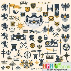 Vector - Collection of heraldry symbols | EPS VECTOR BLOG