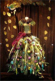 CHRISTMAS PEACOCK THEMED DRESS FORM TREE.