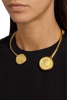 Kenneth Jay Lane - Collier en plaqué or Gold Coin Necklace, Coin Jewelry, Gold Plated Necklace, Jewelery, Gold Coin Ring, Diamond Jewelry, Silver Jewelry, Jewelry Accessories, Jewelry Design