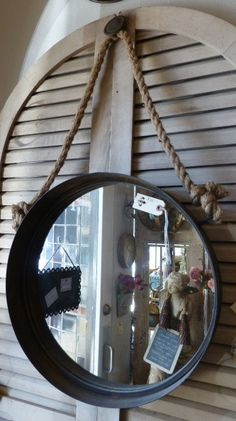 Rope Round Iron Mirror - need for E's bathroom Rope Mirror, Fancy Houses, Distressed Painting, Home Furnishings, Mirrors, Beautiful Homes, Rust, Bedding, Frames