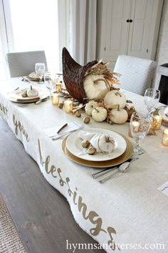 Thanksgiving Table & Pie Box Giveaway Winner (Hymns and Verses) Thanksgiving Cornucopia, Thanksgiving Table Settings, Thanksgiving Tablescapes, Thanksgiving Decorations, Table Decorations, Thanksgiving Ideas, Centerpieces, All You Need Is, Fall Home Decor