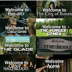 Harry Potter - Hogwarts TMI - The City of Bones Divergent - Dauntless The Hunger Games The Maze Runner - The Glade Storybrooke Percy Jackson - Camp Halfblood I Love Books, Good Books, Books To Read, Book Memes, Book Quotes, Percy Jackson, Citations Film, Fandom Quotes, Fandom Crossover