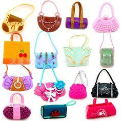 12 шт./лот модные сумки на ремне свободного покроя сумки для кукол барби смешанный стиль кукла сумки девушка день рождения подарки бесплатная доставка купить на AliExpress