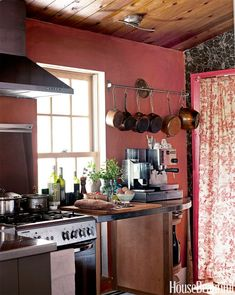 Rustic Country Marsala Kitchen with Copper Pot Holder !