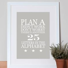 'plan a..' poster by green&co. | notonthehighstreet.com