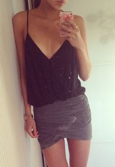 Perfect party outfit.  a little lowcut for me, but I like the idea...