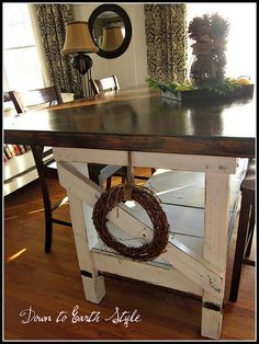 work table turned kitchen table - rustic