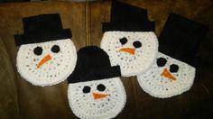 Crocheted and felt Snowman Coasters