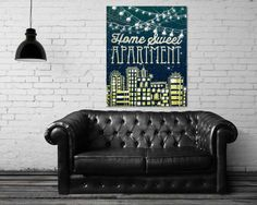 """Home Sweet Apartment"" stretched canvas print by Jenndalyn Art #art #mixedmedia #collage #bohemian"