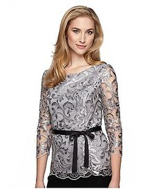 Alex Evenings 3/4-Sleeve Belted Embroidered Blouse