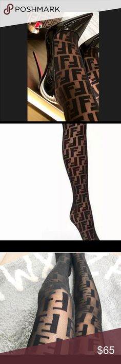 "7d7c8783a0149 Shop Women s Fendi Black size One Size Fits Most Heels at a discounted  price at Poshmark. Description  This seasons FENDI ""F "" print stockings  Brand New ..."