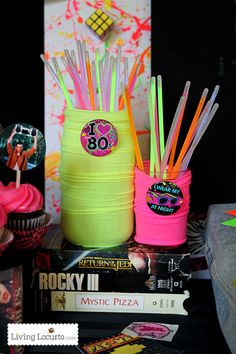 Go back to the with these rad neon birthday party ideas and hilarious party printables. Jello shots, acid washed jeans and big hair! Birthday Party Drinks, 80s Birthday Parties, Neon Birthday, 80th Birthday, Birthday Ideas, Glow Party, 80s Party Decorations, Decade Party, Creative Party Ideas