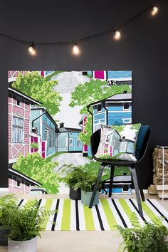 Rauma fabric and cushion by Riina Kuikka, Sonka rug by Vilma Pellinen Zoffany Fabrics, Prestigious Textiles, London Hotels, Marimekko, Cool Wallpaper, Bauhaus, Mansions, House Styles, Interior