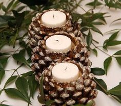 17 Easy DIY Holiday Candle Holders – 37 super easy diy christmas crafts ideas for best and easy rangoli designs for diwali festival part coconut candle holders Pine Cone Art, Pine Cone Crafts, Pine Cone Decorations, Christmas Decorations, Christmas Ornaments, Diy Christmas, Natural Christmas, Rustic Christmas, Christmas Crafts With Pinecones