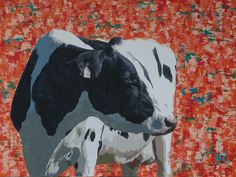 """""""Cow 545""""  36″ x 48″ paint and collage on wood panel  Artwork: painting of cow  $895"""