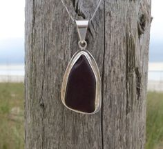 Dark Sea Ruby Sterling Silver Sea Glass Necklace Red by WaveofLife, $77.00