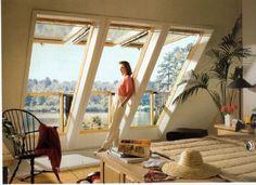 loft conversion cabrio balcony window - All About Balcony Roof Window, Balcony Window, Window Glass, Mansard Roof, Modern Roofing, Loft Room, Attic Loft, Bedroom Loft, Attic Bedrooms
