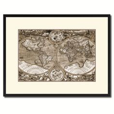 Macro Closeup Vintage Sepia Map Canvas Print, Picture Frame Gifts Home Decor Wall Art Decoration