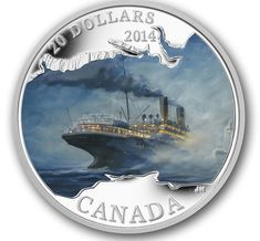 Canada: 2014 50 Cents Lost Ships in Canadian Waters: RMS Empress of Ireland Coloured Coin. Empress of Ireland in the final moments leading up to the collision. The coin was designed by Canadian artist Yves Bérubé. Canadian Coins, Canadian History, Mint Coins, Silver Coins, Canadian Pacific Railway, Coin Art, Coins For Sale, World Coins, Canadian Artists