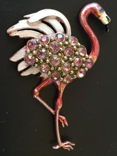 Vintage-Pink-Flamingo-Pin-Brooch-With-Pink-Rhinestones-Enamel