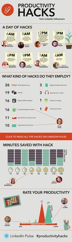 Killer Productivity 'Hacks' From Entrepreneurs Like Richard Branson #Infographic
