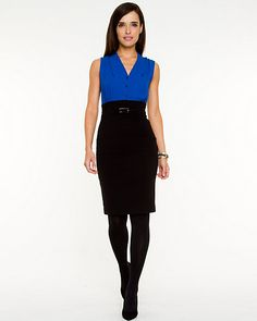 Colour Block Crêpe Dress - A colour blocked dress is an ideal office to cocktail hour ready outfit. Colour Block, Color Blocking, Colorblock Dress, Crepe Dress, Dress Outfits, Dresses, Dress Skirt, Skirts, Queen