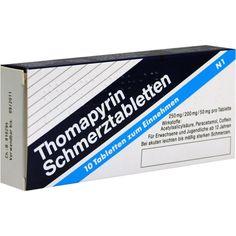 THOMAPYRIN Tabletten:   Packungsinhalt: 10 St Tabletten PZN: 01239683 Hersteller: EMRA-MED Arzneimittel GmbH Preis: 1,47 EUR inkl. 19 %…