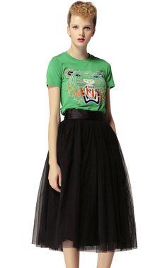 Black High Waist Mesh Yoke Flare Skirt