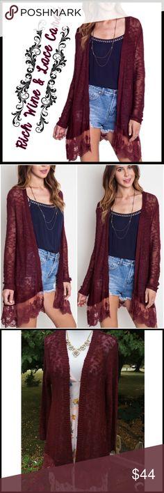 Wine & Lace Cardi Wine & Lace Cardi Boutique Sweaters Cardigans