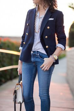 Make a navy double breasted blazer and blue slim jeans your outfit choice for a . - Make a navy double breasted blazer and blue slim jeans your outfit choice for a comfortable outfit that's also put together nicely. Shop this look for. Sexy Jeans, Dress Up Jeans, Blazer Dress, Dress Shirt, Style Casual, Casual Outfits, My Style, Navy Blazer Outfits, Navy Blazers