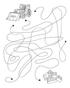 Lego Construction dot maze - Free Printable Coloring Pages
