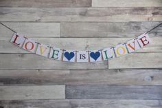 Love is Love Rainbow Wedding Banner by WeddingBannerLove on Etsy