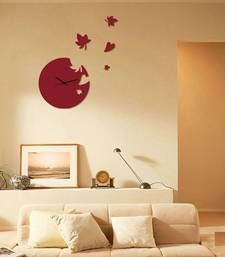 Buy red raound wall clock wall-clock online