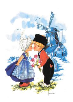 Kiss with blue windmill Vintage Greeting Cards, Vintage Postcards, Holland Netherlands, Old Cards, Thinking Day, Illustrations, Delft, Cute Illustration, Big Eyes