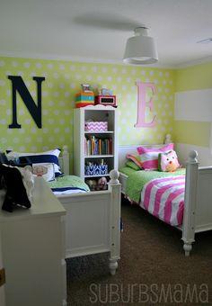 Suburbs Mama: Shared Kids Room Take #3... boy /  girl shared like the comforters