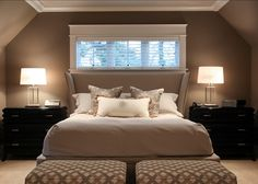 """This is the """"Upholstered Wing Bed by Hickory White"""" Bedding Master Bedroom, Master Bedroom Design, Bedroom Decor, Dining Room Paint, Dining Room Design, Pinturas Color Pastel, Room Of One's Own, Pretty Bedroom, Luxury Interior Design"""