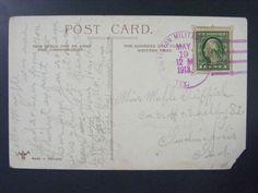 Galveston Military Branch Texas 1913 4-Bar Purple Cancel Postmark on Postcard
