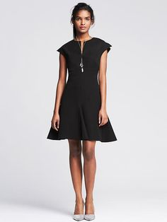 Sloan-Fit Black Fit-and-Flare Dress