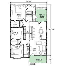 Plan 10035TT Narrow Lot Bungalow House
