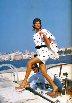 Venetian Holiday I US Vogue I December 1990 I Model: Christy Turlington I Photographer: Patrick Demarchelier I Editor: Carlyne Cerf de Dudzeele.