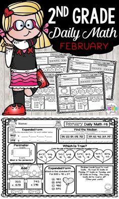 February Morning Work - 2nd Grade - Use these printable worksheets to help add rigor to your daily math routine. You get 20 pages of daily math work. They're great for morning work, seat work, review, test prep, early or fast finishers, homework, and more. Skills include Expanded Form ►Order Numbers, Median ►Perimeter True / False Equations, 3 Digit Addition, Word Problems, Place Value, Number Sense, 2 Digit Addition, Arrays AND MORE! {second graders, home school, home school}#morningwork