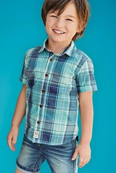 a8b2a8568dc3f Buy Teal Short Sleeve Check Shirt (3mths-6yrs) from the Next UK online