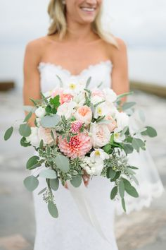 Photography : Leila Brewster | Bouquet | White and Pink | True Event | http://www.trueevent.com http://www.stylemepretty.com/connecticut-weddings/guilford/2015/04/03/elegant-waterfront-wedding-at-the-guilford-yacht-club/