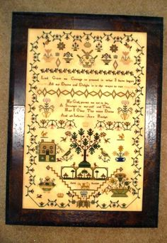 Jane Baxter 1824 Reproduction Sampler Counted X-Stitch Pattern