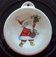 contemporary Santa fired on Fiesta ornament blank and made in the USA