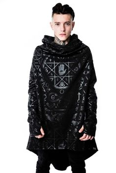 Unisex Black CULT long length hoodie with occult symbols. Shop now. Free delivery on minimum offers. KILLSTAR.com